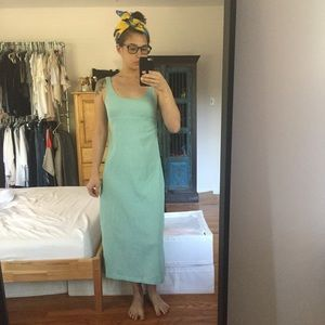 Dresses & Skirts - vtg mint blue midi linen cotton summer sun dress s